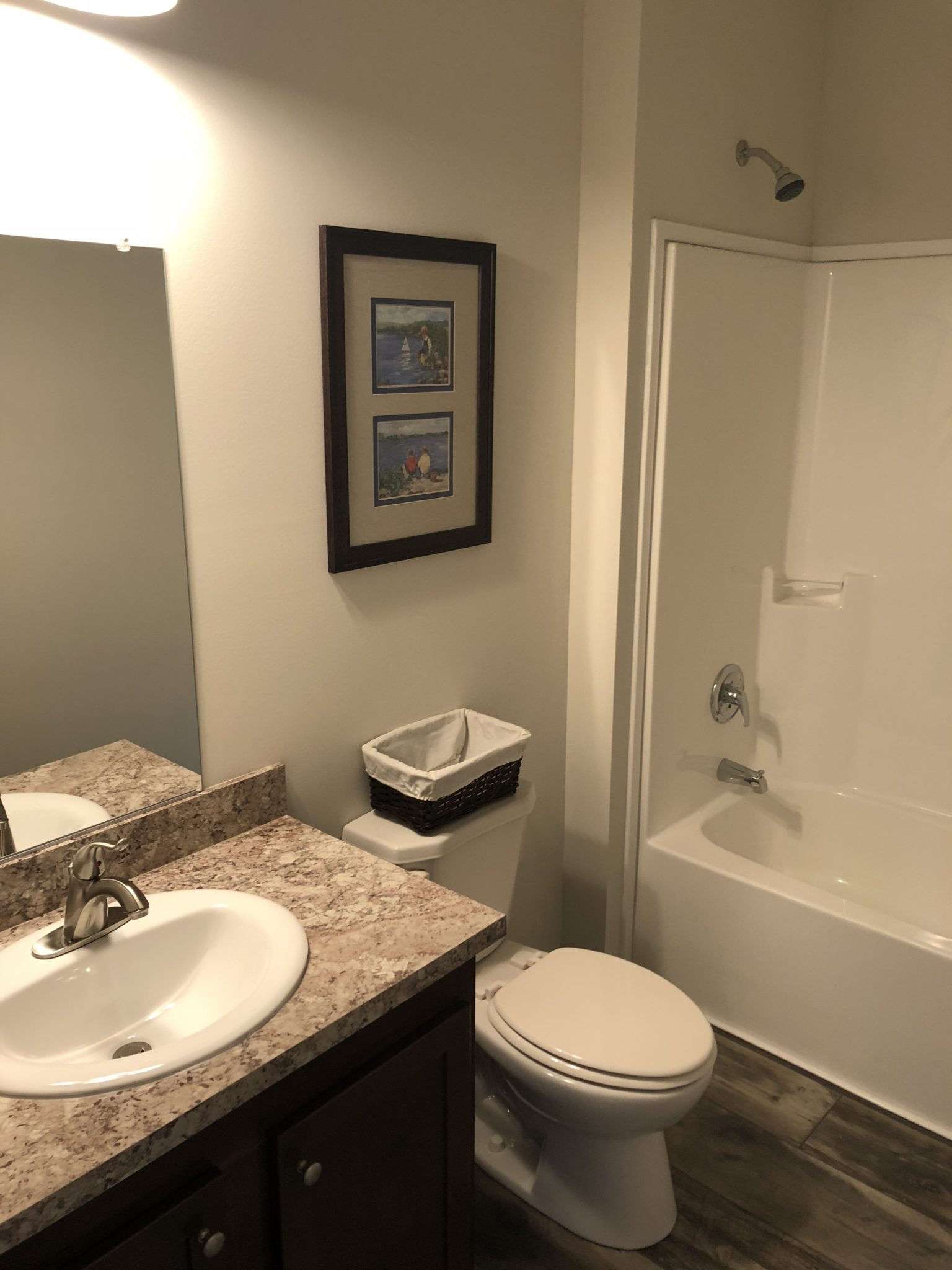 The Garfield custom modular home guest bathroom