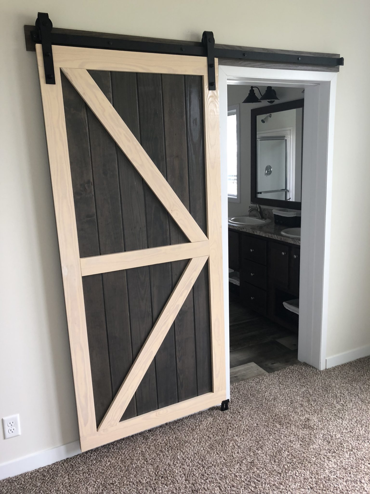 The Garfield custom modular home - sliding barn style door